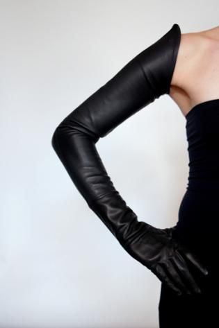 pointed hem elastic leather gloves