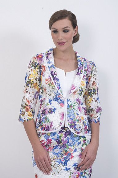 Jardin Jacket –An unlined poly lace jacket trimmed with white cotton. Can be worn quite casually over white pants.