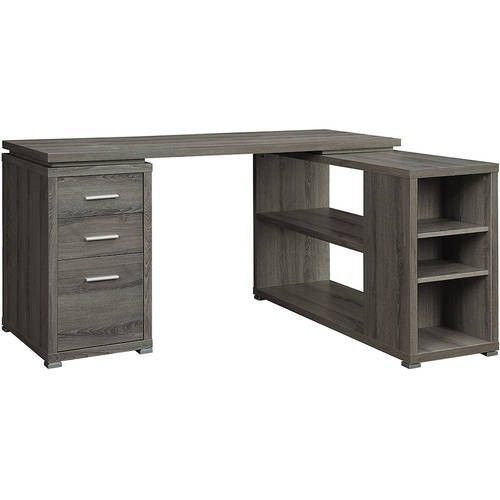 Modern Computer Desk L Shaped Storage Office Drawers Home Table Grey Reversible #ModernComputerDesk #Modern