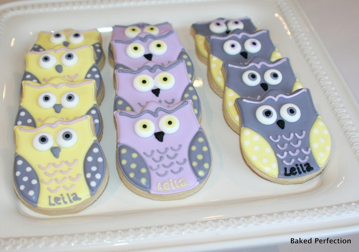Baby Owls in Lavender, Yellow and Gray Hand Decorated Sugar Cookies for Baby Shower, New Baby Gift. $60.00, via Etsy.