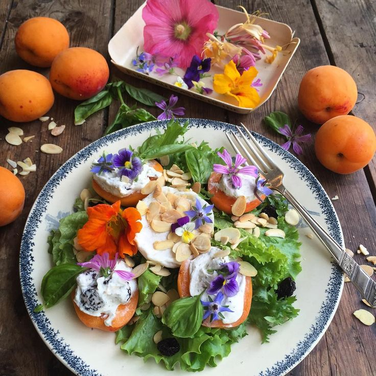 A Provence inspired salad based on a recipe I made on a recent press trip to Provence; nettle and cream cheese stuffed apricots, with Picodon goat's cheese, toasted almonds, sour cherries, lettuce and edible flowers all dressed in a Manuka honey and lemon dressing with a little olive oil