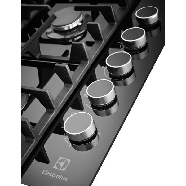 E&S Trading | Kitchen, Bathroom & Laundry - Electrolux Eline 90cm Black Glass Gas Cooktop EHG953BA