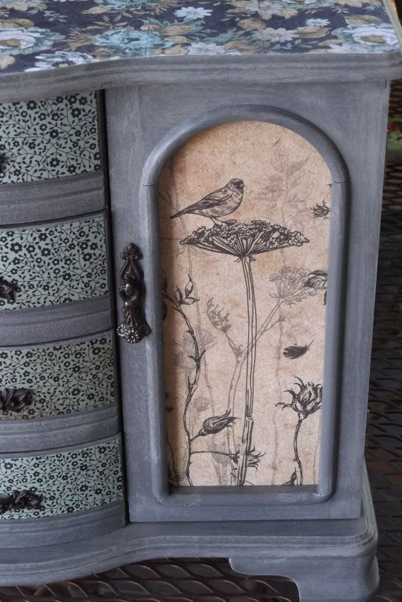 Paris Gray Hand Painted Jewelry Box with French Rose by Eweniques, $110.00