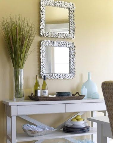 Decorate Mirror Frame Like Currey and Company's Oyster Shell Mirror