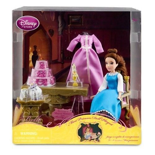 Disney Beauty and the Beast Mini Belle Doll Figurine Playset Mrs. Potts Chip NEW