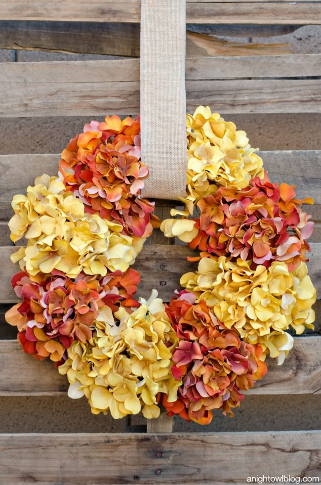 This could be easily made with any flower or flowers of your choice. - Create this Easy Fall Hydrangea Wreath in minutes to update your decor for the fall!
