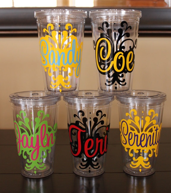 DON'T USE CHEAP CUPS!! WATER AND SUDS CAN GET TRAPPED!!!!! ---Damask Insulated Tumbler - 16 oz - personalized - BPA Free
