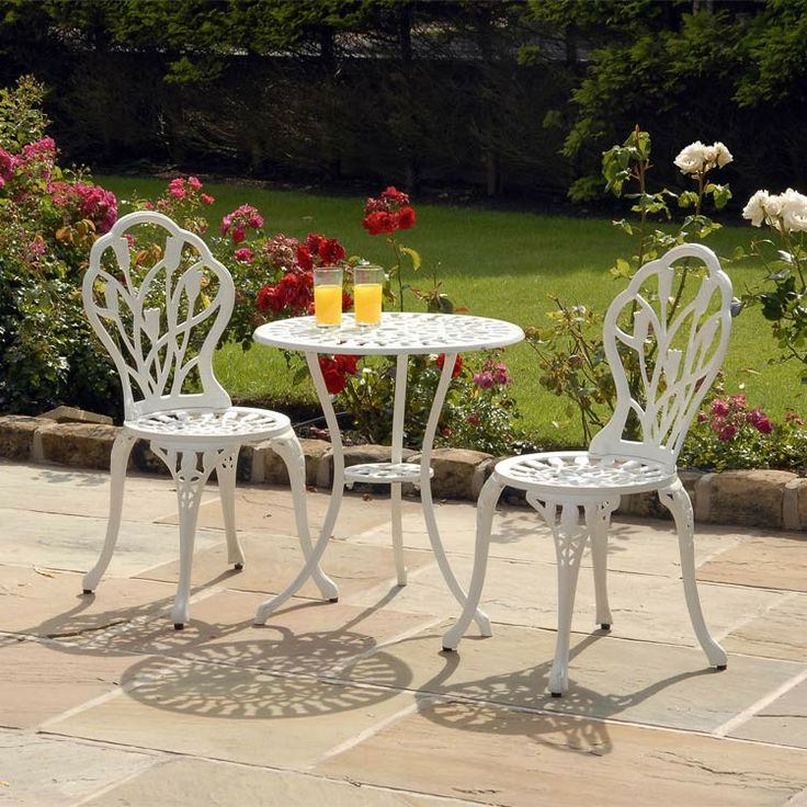 White Metal Tulip Bistro Set | Metal Garden Furniture