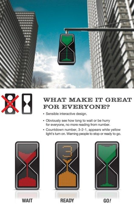Would an Hourglass Traffic Light Work Better? Mark Frauenfelder found this interesting new traffic light design by Thanva Tivawong. LED lights trickle down like sand in a virtual hourglass, letting you know when the light will change.