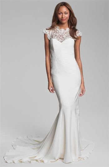 Nicole Miller Lace Yoke Satin & Charmeuse Mermaid Gown available at #Nordstrom