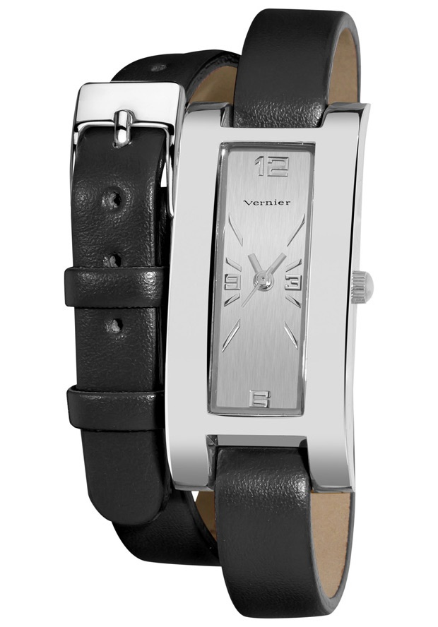 Price:$22.00 #watches Vernier VNR11105BK, The fashion forward double wrap looks stunning in a black strap and silver case which goes with every outfit!