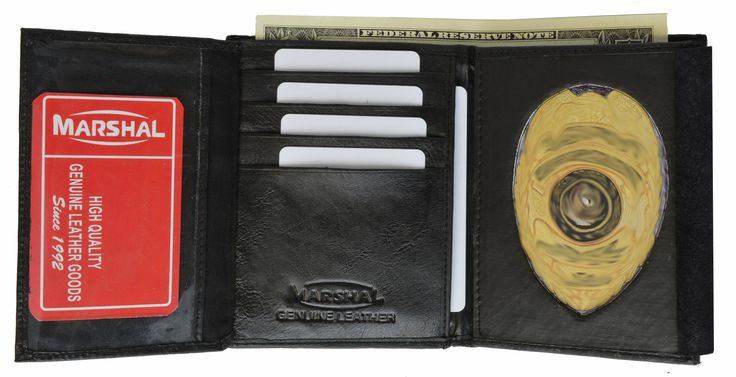 Badge Holder Wallet Genuine Leather Black Police Fire Sheriff Security ID Shield 2518 TA (C)