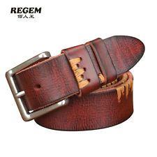 3 Color Men Women Genuine Leather Belt Waist Strap Waistband Fashion Jeans Belt