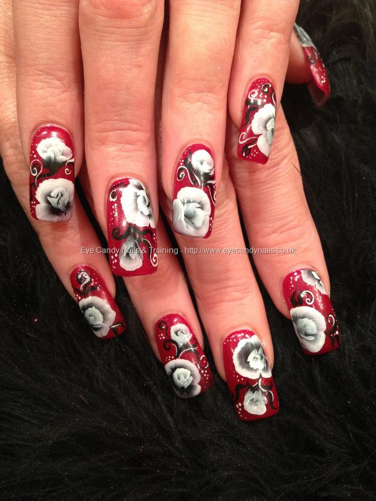 541 best flower images on pinterest nail designs nail art eye candy nails training red glitter polish with black and white one stroke rose nail art by elaine moore on 20 december 2012 at prinsesfo Image collections