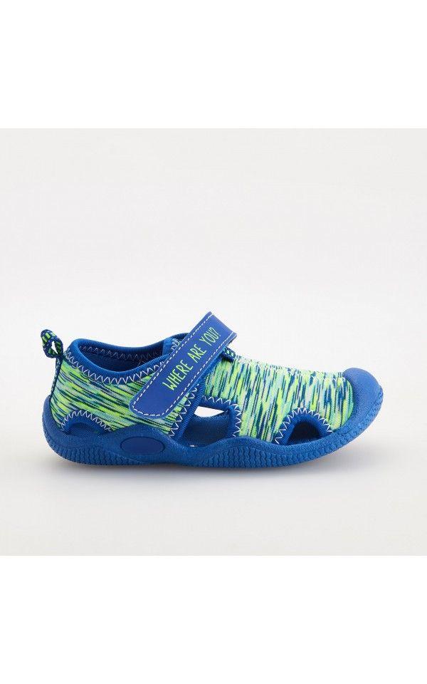 Sandály s pevnou patou a krytou špičkou, Boty, modrá, RESERVED