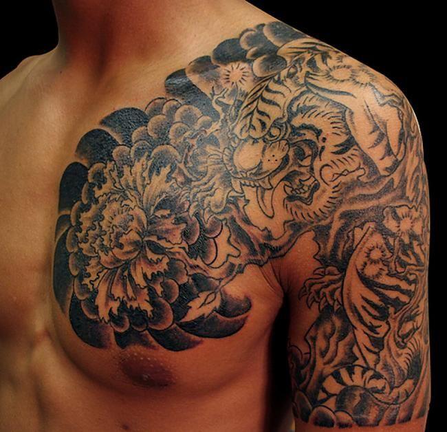Black Japanese Tiger Tattoo on the shoulder