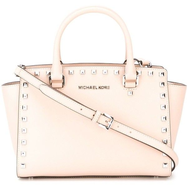 Michael Michael Kors Selma Tote ($379) ❤ liked on Polyvore featuring bags, handbags, tote bags, pink handbags, tote handbags, leather tote, pink leather purse and leather handbag tote