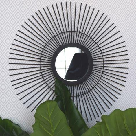 miroir soleil noir d co jungle urbaine pinterest miroir rond miroirs et miroir biseaut. Black Bedroom Furniture Sets. Home Design Ideas