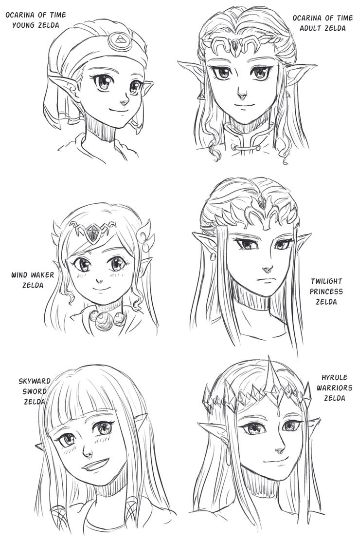 You can see the different personalities in each Zelda by looking at these sketches.