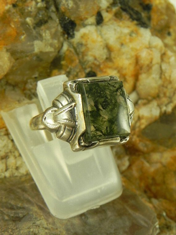 Art Deco Green Moss Agate Sterling Ring by hollywoodrings on Etsy, $35.00