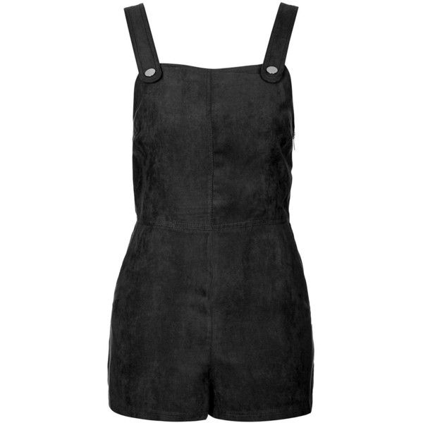 TopShop Suedette Military Playsuit ($61) ❤ liked on Polyvore featuring jumpsuits, rompers, jumpsuit, dresses, playsuits, bottoms, black, black romper, black jump suit and topshop romper