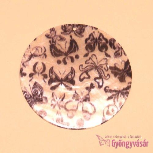 Fekete pillangós medál - kagylógyöngy • Gyöngyvásár.hu