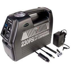 Air Compressor 12 Volt 230 PSI Gauge for Tires Rafts Sports Balls has Outlet for DC Power