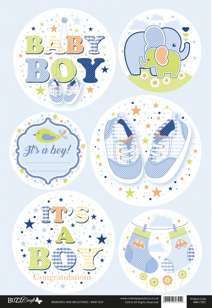 Buzzcraft Memories and Milestones occasions die cut toppers - Baby Boy