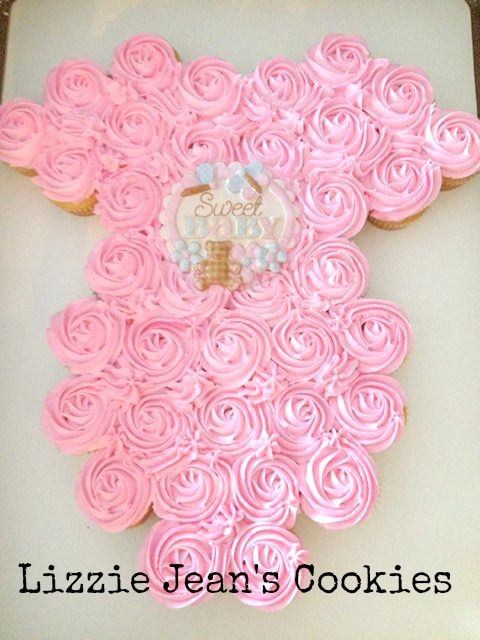 Onesie Cupcake Cake for Baby Shower www.lizziejeanscookies.com