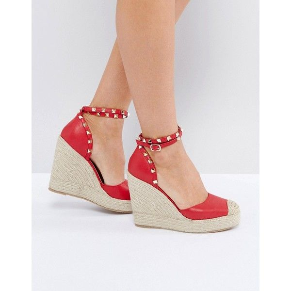 Truffle Collection Heeled Espadrille with Studded Ankle Strap ($42) ❤ liked on Polyvore featuring shoes, sandals, red, red wedge sandals, wedges shoes, open toe sandals, wedge heel sandals and red sandals