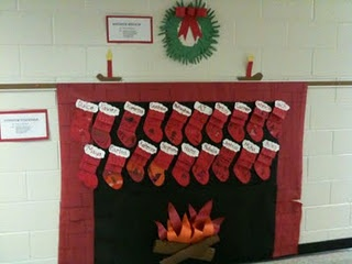 cute classroom christmas idea, would be good to have them write their wish lists on their stockings