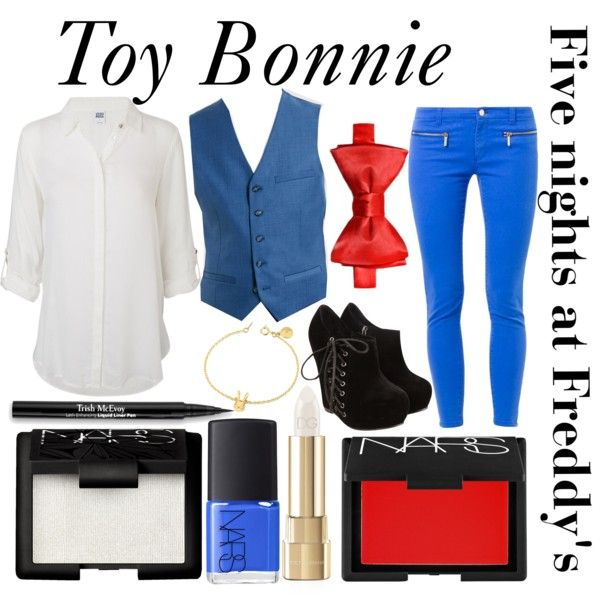 """""""Five nights at Freddy's inspired outfits #7 Toy Bonnie"""" by tortured-puppet on Polyvore"""