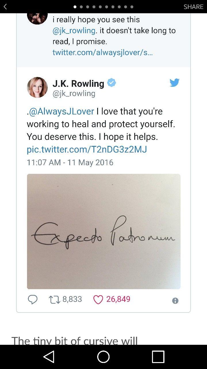 J.K. Rowling handwritten Expecto Patronum tattoo idea