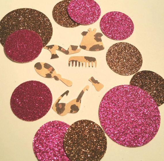 Choose colors! Leopard Cheetah print Diva accessories confetti birthday diva bachelorette sweet sixteen party invitations table decor