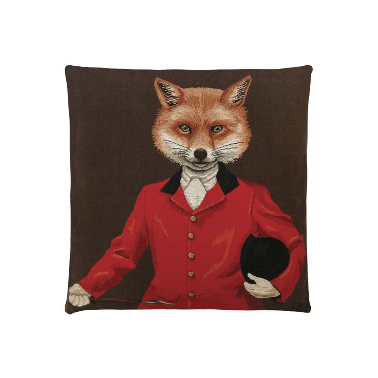 Coussins décoratifs avec des animaux personnifiés et habillés en tenue d'époque ou en tenue de chasse. Renard en veste rouge et chapeau melon sur fond marron. Recto du coussin en velours. By Matao - 2015