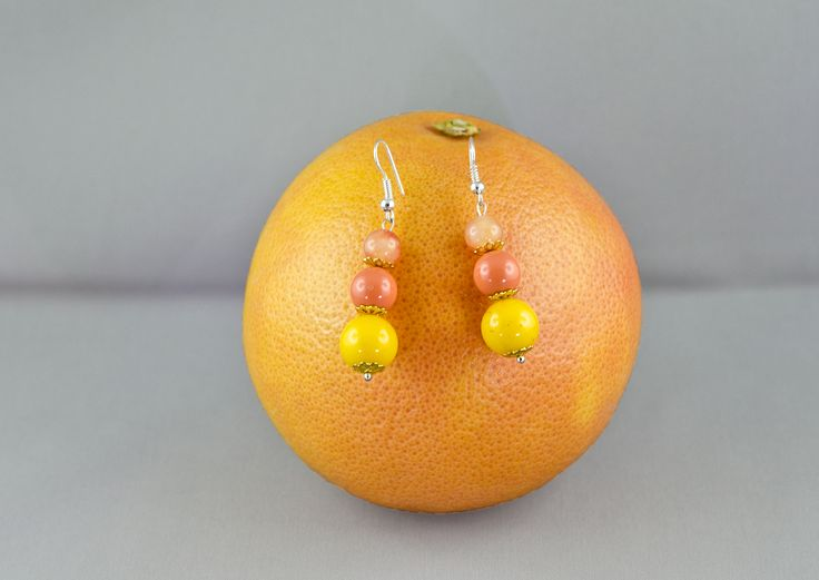 Yellow and orange Jade earrings and Swarovski pearl
