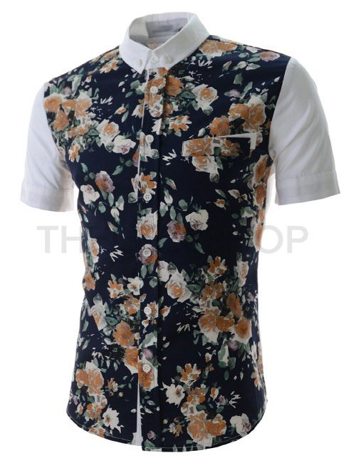 (DMSS02-NAVY) Mens Chest Pocket Decoration Front Floral Pattern Short Sleeve Shirts