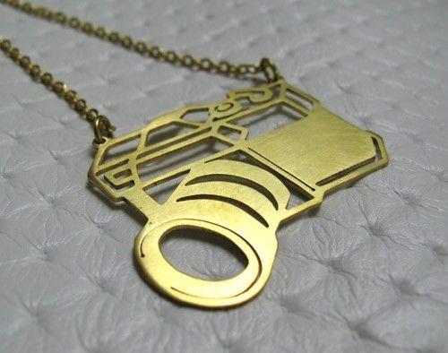 Vintage Camera Necklace - handmade brass jewelry