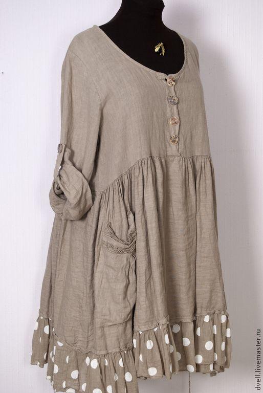 Купить ПЛАТЬЕ БОХО ЛЕН КОМБИНИРОВАН - коричневый, однотонный, стиль бохо, для женщин, комбинированное платье