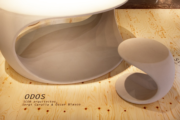 ODOS table and stool in Slimconcrete