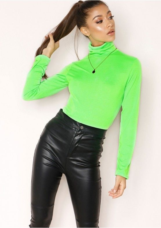 d5e8c977baa34 Tammi Neon Green Roll Neck Top in 2019 | outfit inspo | Neon outfits ...