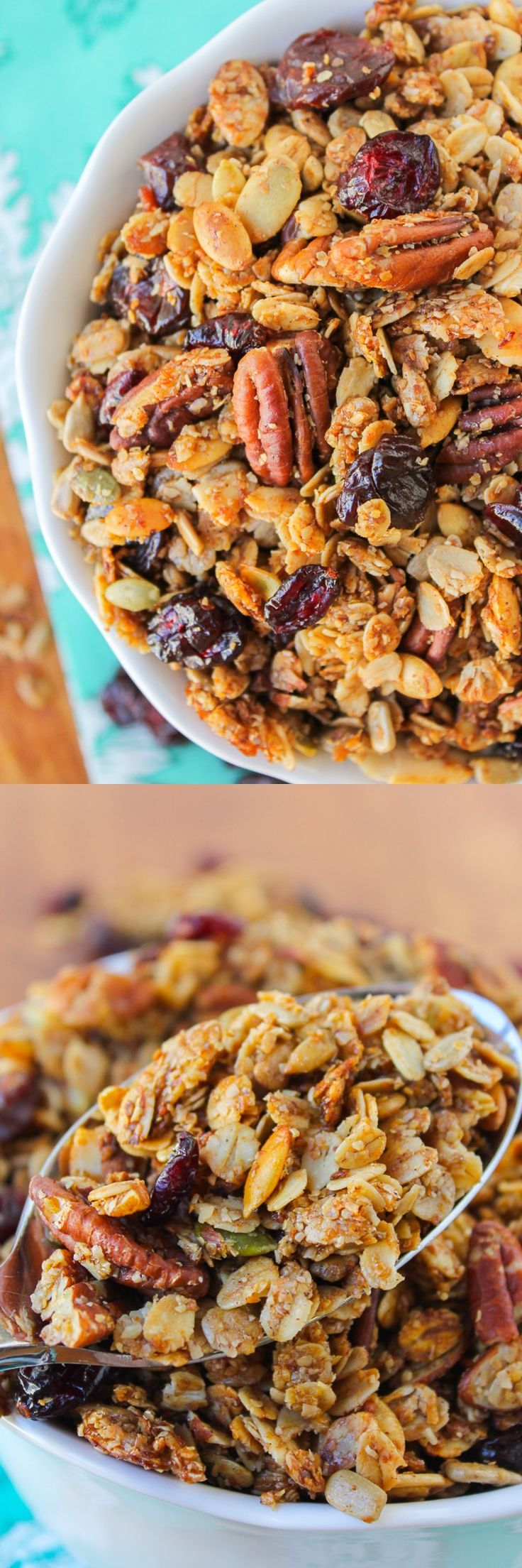 Maple Pecan Granola with Cherries from TheFoodCharlatan.com This easy recipe comes together quick and makes a ton! A great make-ahead recipe for busy morning.