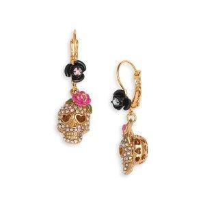Betsey Johnson 'Betsey the Vampire Slayer' Skull Crystal Drop Earrings