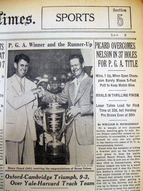 1939 NY Times newspaper HENRY PICARD wins PGA GOLF CHAMPIONSHIP ovr Byron Nelson