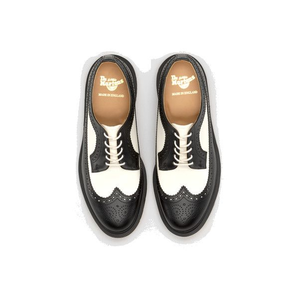Dr Martens Mie 3989 Wingtip Shoe BLACK+OFF WHITE SMOOTH TG - Doc Martens Boots and Shoes