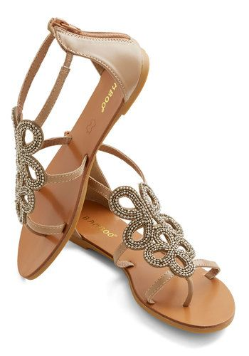 Knot All Who Wander Sandal - Flat, Faux Leather, Tan, Beads, Luxe, Summer, Good, Beach/Resort