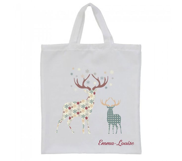 Stag tote bag, Personalised Christmas gift, canvas tote bag, Grocery bag, by cjcprint on Etsy