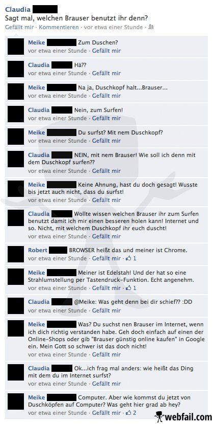 Das Duschkopf-Surfen - Facebook Fail des Tages 16.11.2013