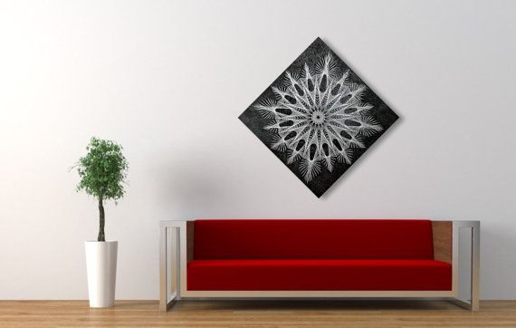 String & Nail Art 'The Snowflake'. Wall Art on Wood Home Decor. Unique embroidery mandala sacred geometry nature spiritual art ready to hang