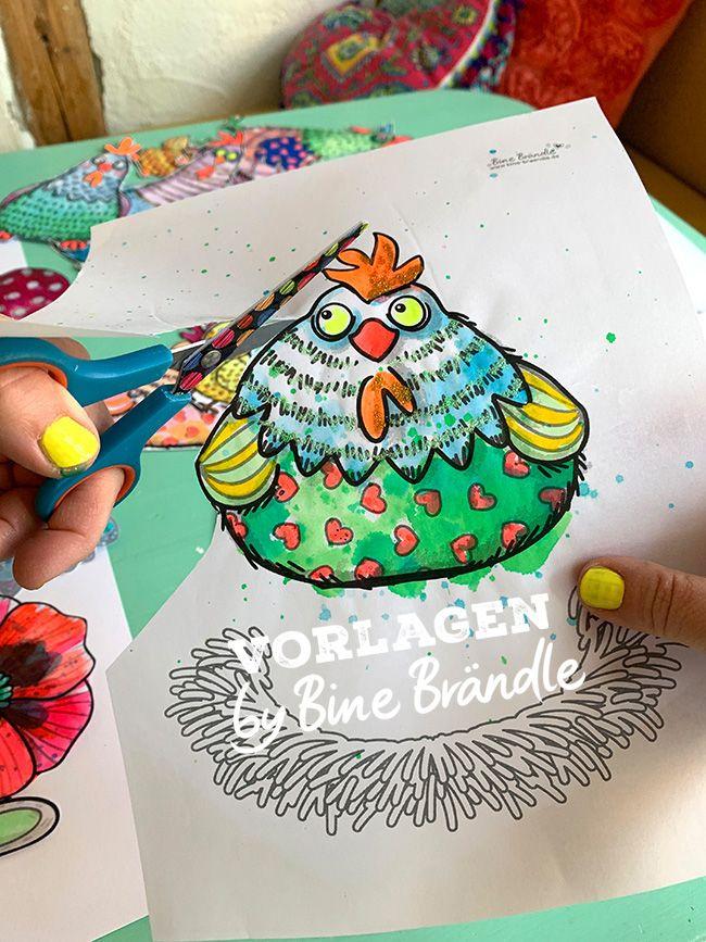 Vorlage_Huhn_Deko_Bine_Brändle (9) Kunst für kinder